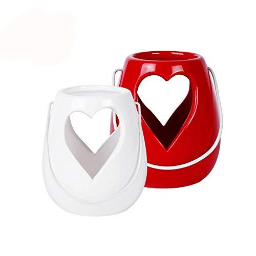YL-adorn art handgemaakte keramiek rood wit kandelaar klassiek hart vormig houder kaars schaal voor tafel middenstukken op Valentijnsdag Kerstmis party vakantie bruiloft en avondessin