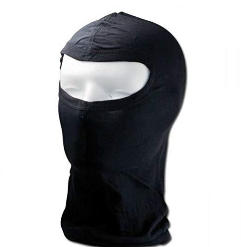 BISOMO Sturmhaube, Schutzmaske, Skimaske aus SEIDE Schwarz mit Panorama Fenster
