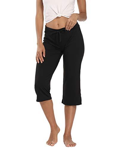 HDE Womens Plus Size Sleepwear Capri Pajama Pants Sleep Capris 2X, Black