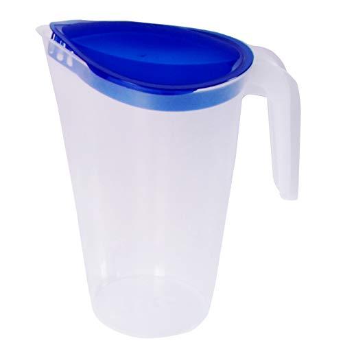 Jarra de zumo de Home Line de 1,75 litros, jarra de agua con tapa fija, jarra de bebidas con boquilla exterior antigoteo, jarra de agua para frigorífico y dispensador de zumo (1 unidad), color azul