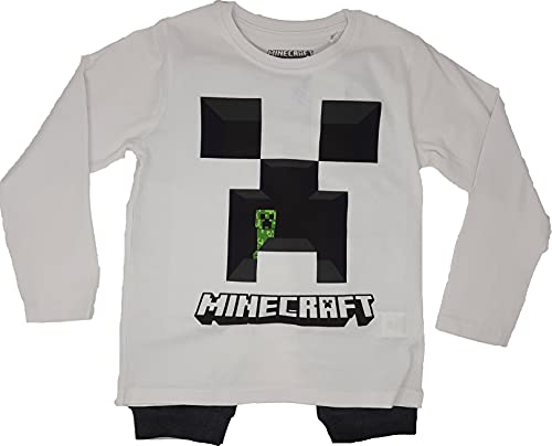 Minecraft Creeper Jungen Schlafanzug Pyjama Langarm (Weiss, 152)
