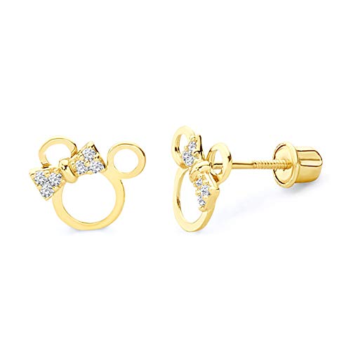 14k REAL Yellow Gold Mouse Stud Earrings with Screw Back