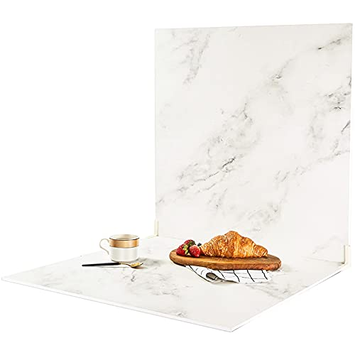 BEIYANG 2 Marble 24x24in Photography Backdrop Boards with 2 PCS Bracket for Flat Lay or Food Photography Background Marble and White Backdrop Photo