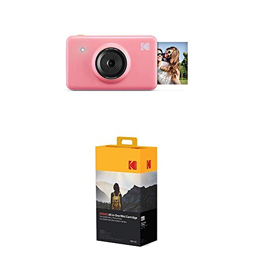 Kodak Mini Shot Wireless Sofortbild-Digitalkamera (Rosa) 2x3-Zoll-Druck mit patentierter 4-Pass-Drucktechnologie, 50-Pack-Papierbündel