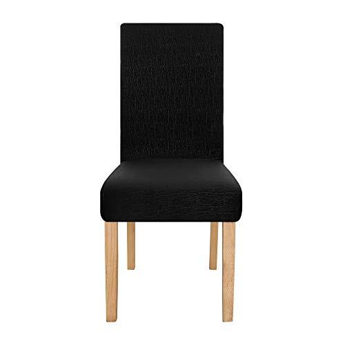 Amazon Brand - Umi Funda para Silla Decorativa Suave de Salon Comedor 6 Piezas Negro
