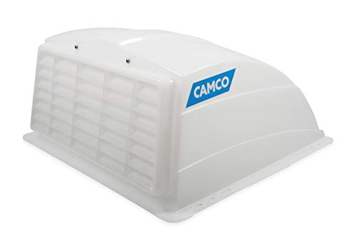 Camco - 21014 Roof Vent Cover - Allows High Flow Ventilation Into Your RV, Rain or Shine, Easy Installation and Cleaning, Installation Hardware Included - White (40433)