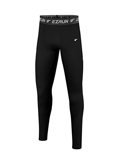 EZRUN Youth Boys' Leggings Thermal Base Layer Sports Soccer Tights Fleece Lined Compression Pants(Black,L)