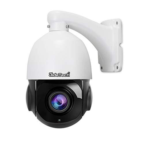 Cámara de vigilancia PTZ PoE, cámara con Zoom HD 5MP 20x para Exteriores, detección de Movimiento de visión Nocturna por Infrarrojos, con Ranura para Tarjeta SD de Audio bidireccional Incorporado