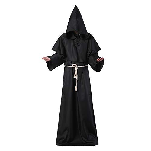RB Middeleeuwse Priester Monnik Robe-Hooded Cap Mantel Halloween Cosplay Unisex Kostuum Mantel, L, Zwart
