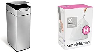 simplehuman 40 litre slim touch-bar can fingerprint-proof brushed stainless steel + code M 60 pack liners