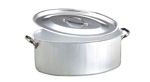 Pentole Agnelli ALMA12640 Casseruola Ovale con Coperchio e 2 Maniglie Inox, Alluminio Professionale 3 mm, 40 x 28 cm