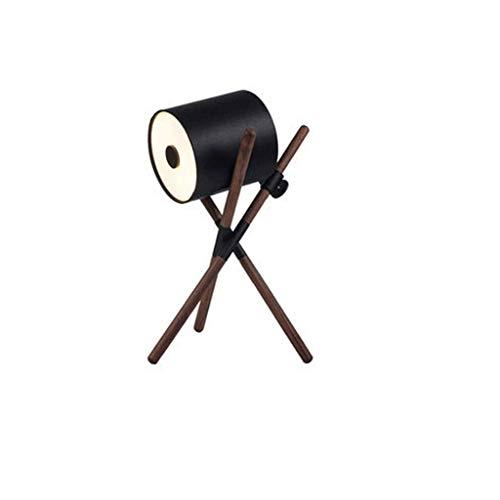 Sala de estar Decoración Sofá lámpara de mesa, dormitorio LED de noche sólido tabla de madera de la lámpara de escritorio de la decoración de regalo (Color: Negro) kshu (Color : Black)
