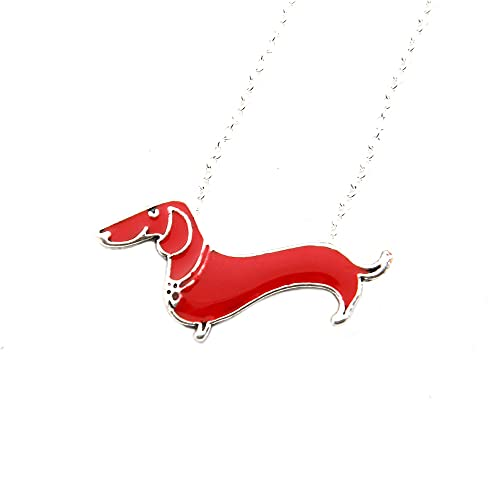 HUREWQ collarCollar de Perro Salchicha Doxie Salchicha Amante del Perro Cachorro Mascota Regalo conmemorativo Colgantes Gargantilla Femenina
