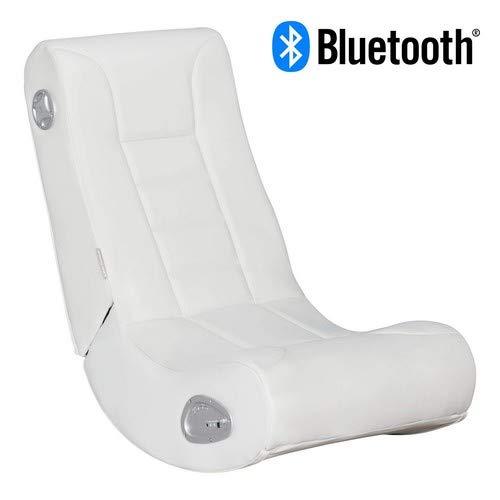 WOHNLING Soundchair Level One mit Bluetooth Musiksessel mit eingebauten Lautsprechern Multimediasessel für Weiß