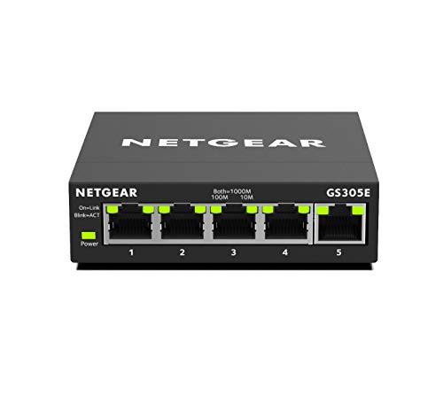 NETGEAR GS305E Switch 5 Port Gigabit Ethernet LAN Switch Plus (Plug-and-Play, Managed Netzwerk Switch mit IGMP Snooping, QoS und VLAN, lüfterlos, robustes Metallgehäuse)