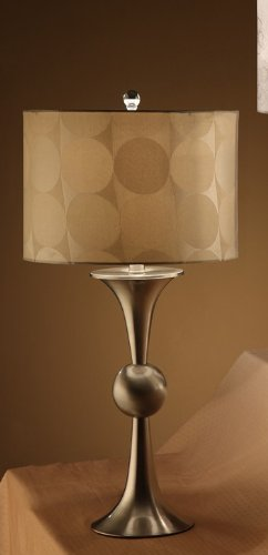 Poundex Set of 2 Table Lamps with Drum Shade in Light Gold Base