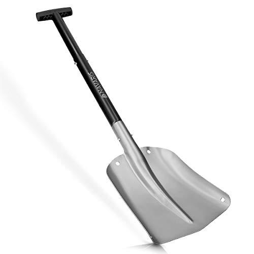 Navaris Pala de Nieve Plegable - Quitanieves con Mango Ajustable 80CM y Bolsa de Transporte - Pala para Quitar Nieve de Aluminio Plateado y Negro