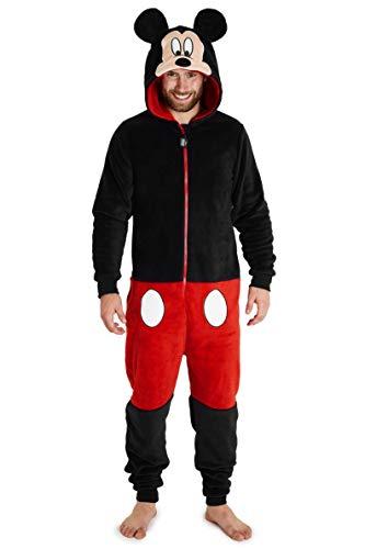 Disney Mickey Mouse Jumpsuit Herren, Einteiler Onesie für Männer und Jungs, Fleece Overall Kostüm mit 3D Kapuze, One Piece Hausanzug Geschenke für Erwachsene (M)