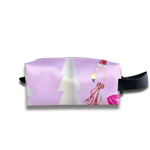 Weihnachtsflamingo-Frohe Weihnacht-Karten-Vektor-Bild-Kosmetik-Taschen-tragbare Drucktasche für die Lagerung der Frauen