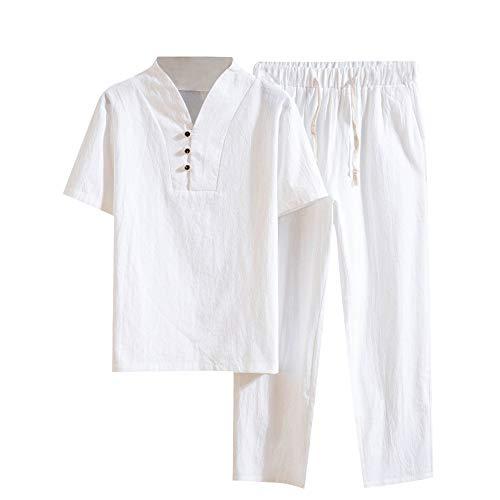 Shujin Chándal para hombre de algodón y lino, de manga corta, camiseta de lino y pantalones de lino holgados, cómodo y ligero, transpirable