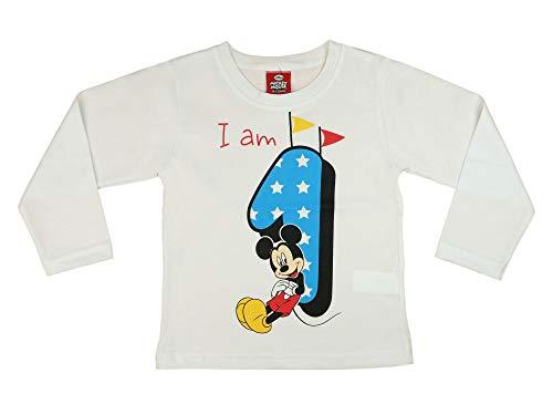 Jungen Baby Kinder 1. erster Geburtstag Langarm T-Shirt 1 Jahre Baumwolle Birthday Outfit GRÖSSE 86 Mickey Mouse Disney Weiss Blau Babyshirt Oberteil Hemd Polo Farbe Weiss