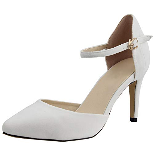 Wealsex Zapatos de Tacón 8CM Tobillo Correa Hebilla Elegante para Fiesta y...