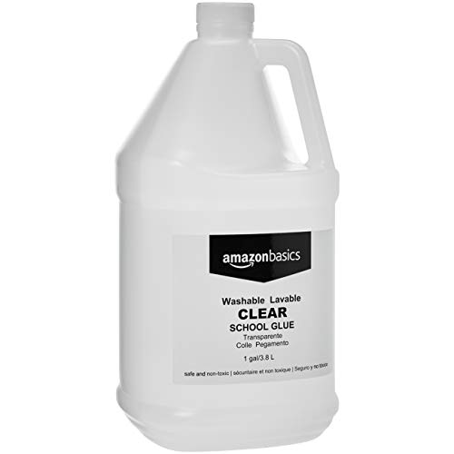 AmazonBasics All Purpose Washable School Clear Liquid Glue - Great for Making Slime, 1 Gallon Bottle, 2-Pack