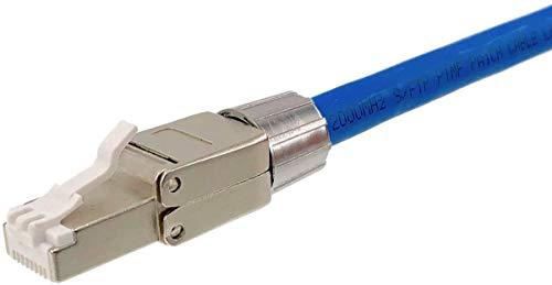 odedo 2 conectores de crimpado CAT 8.1 RJ45 para cables de red, montaje sin herramientas, alivio de tensión apantallado, CAT 6A 7 2000 MHz hasta 8,5 mm