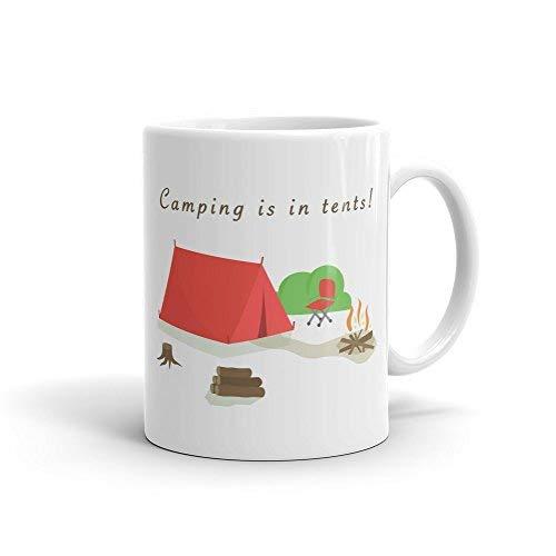 Queen54ferna Taza divertida para acampar es en tiendas de campaña, taza para acampar, regalo de camping, al aire libre, taza de verano, regalo de campamento, regalo de campamento, 325 ml