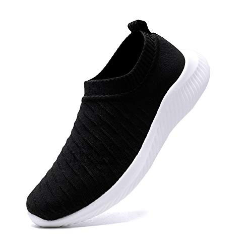 FUDYNMALC Men's Fashion Walking Sock Shoes Lightweight Breathable Mesh Tennis Sneakers Comfortable Knit Slip On Gym Running Shoes Black