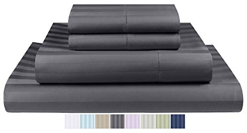 Threadmill Home Linen 500 Thread Count Damask Stripe Cotton Sheets 100% ELS Cotton Hem Stitch Luxury 4 Piece Sheet Set, Fits Mattresses up to 18 inches deep, Smooth Sateen Weave, Queen, Elephant Grey