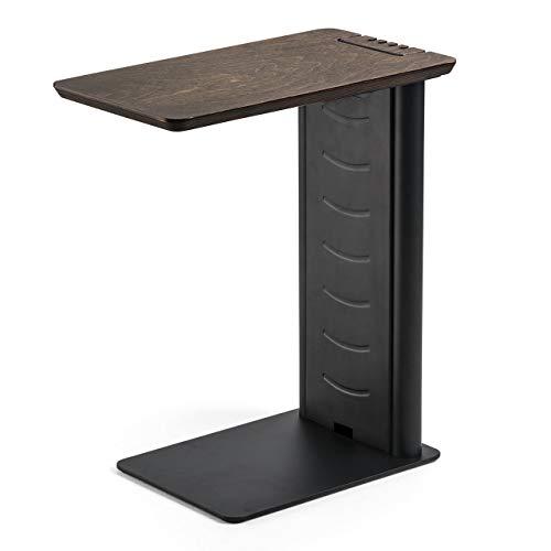 サンワダイレクト サイドテーブル ソファ ベッド USB充電器収納 充電スタンド 天然木 ブラック 200-STN030BK