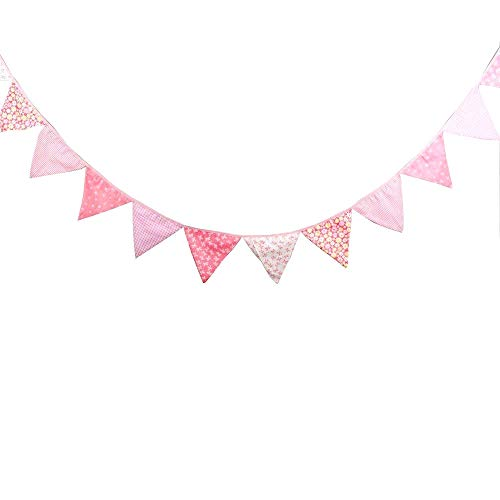 JZK Rosa Bunting Dreieck Flagge Banner Wimpelkette Girlande, Deko für Mädchen Geburtstag Babyparty Taufe Kinder Party
