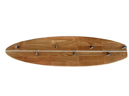 ICEBORN Garderobenleiste Wandgarderobe Surfboard Eiche geölt Edelstahl Manufaktur