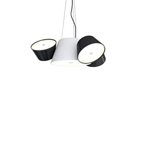 Lámpara Colgante 5 x E14 LED 5W con 3 Pantallas y difusor de metacrilato Opal, Modelo Tam Tam Mini, Color Blanco Roto, 66 x 57,5 x 26 centímetros (Referencia: A633-011 35)