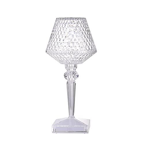 Yozeka Lámpara de mesa Crystal Diamond Ghost Bourgie, 8,5 x 8,5 x 26 cm, USB, táctil, LED, para dormitorio, salón, habitación de invitados, cómoda