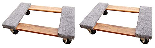 Vestil HDOC-1624-9 Hardwood Dolly with Carpet End, 900 lbs Capacity, 24 Length x 16 Width x 5-3/4 Height Deck (Pack of 2)