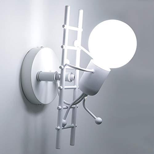 KAWELL Humanoide Creativo Lámpara de Pared Interior Luz de Pared Moderno Apliques de Pared Art Deco Max 60W E27 Base para Niños, Dormitorio, Escaleras, Pasillo, Restaurante, Blanco