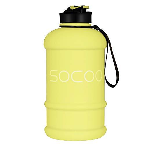 SOCOO Botella de Deportes Acuáticos de 1,3 litros sin BPA, Botella de Agua Portátil para Gimnasio/Viajes/Ejercicio/Deporte, Contenedores de Agua para Acampar