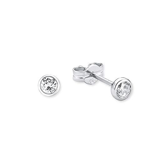 amor Ohrstecker für Damen 4 mm 925 Silber rhodiniert Zirkonia weiß