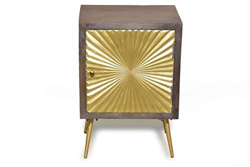 Sit Möbel Peetal nachtkastje Mango met messing. Leder + oud hout, poten metaal L = 45 x B = 33 x H = 60 cm bruin met gouden front en poten