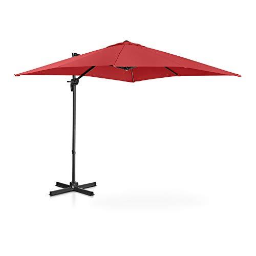 Uniprodo Sombrilla Tipo Semáforo Parasol Colgante Uni_Umbrella_2SQ250BO (Pantalla Cuadrada, 250 x 250 cm, Giratoria, Color Burdeos)