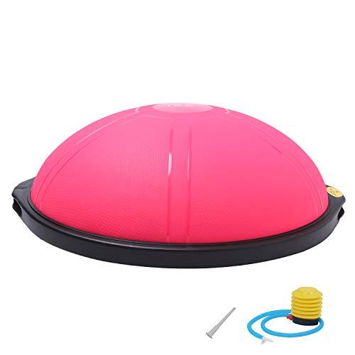 ISE Ø66 cm Balance Trainer Balance Ball Trainingshalbball mit Pumpe beidseitig nutzbar für Yoga Gymnastik,GS-geprüft (pink)