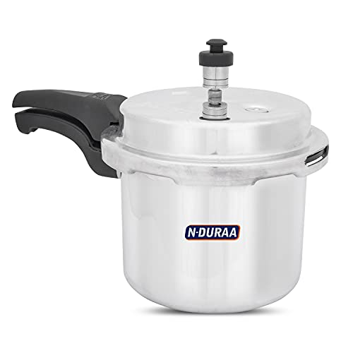 N-DURAA Aluminum Pressure Cooker 3 Liter Outer Lid , ISI Certified Gas Stove Compactable, Made In INDIA (SiIver)