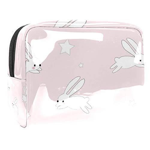 Portable Makeup Bag with Zipper Travel Toiletry Bag for Women Handy Storage Cosmetic Pouch Bunny Jump