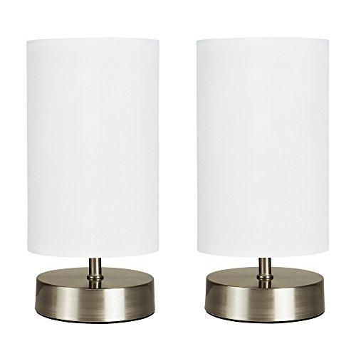 MiniSun – Moderne Touch-Me Tischlampen aus gebürstetem Chrom mit weißem Stoffschirm in Zylinderform inklusive Kabel & Stecker (2er Set) – Touch-Me Tischleuchten
