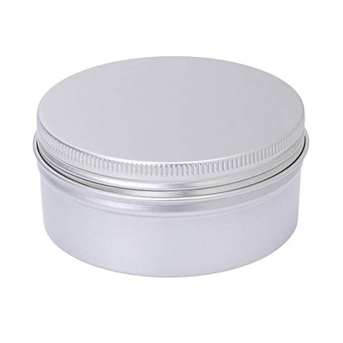100/150/ 180 ML Aluminium Dispenser Cosmetic Pot with Screw Lid Craft, Reusable Washable Sealing Jar Tin, Food Container Silver Box for Lip Stick Makeup Cream Storage