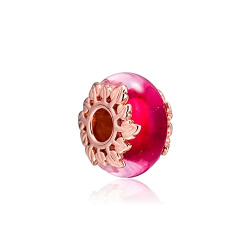 Pandora 925 Jewelry Bracelet Natural Pink Murano Glass Charms Sterling Silver Charm Beads For Bead Perle Women Diy Gift