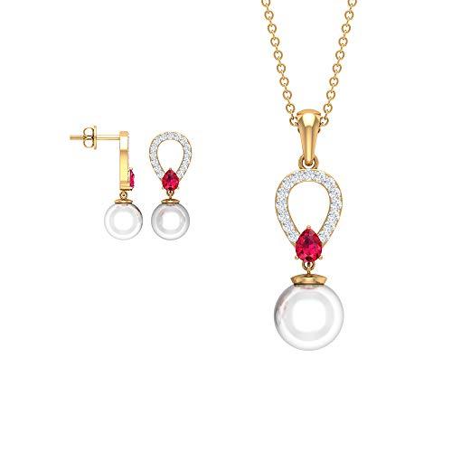Juego de collar y pendientes de perlas personalizadas, colgante de piedra de rubí en forma de pera, diamante antiguo para mujer, pendientes de gota, piedra de nacimiento, aniversario