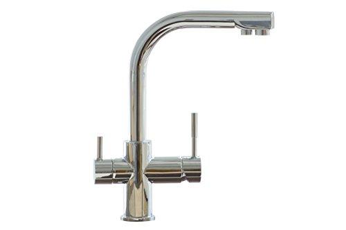 3-Wege-Hahn Verona, Messing Chrom, für Untertisch Filter (z.B. Vario, Ukato), Umkehrosmose - 2 getrennte Wasserkreisläufe, mit Kugelgelenk & Adapter auf M22 AG